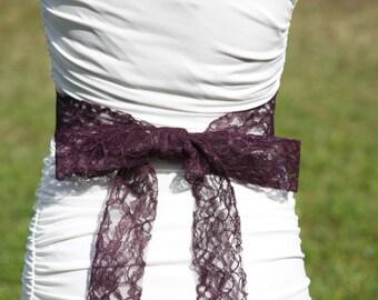 Plum Lace Sash, Bridal Lace Sash, Wedding Accessory, Lace Bridal Belt, Dark Purple Lace Sash, YOUR COLOR CHOICE