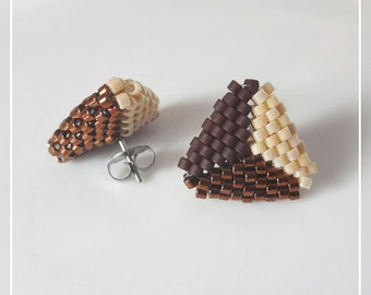Chocolate brown and cream triangle stud peyote stitch Miyuki Delica earrings handmade jewelry