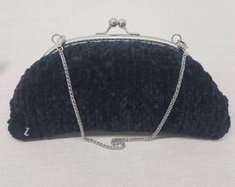 black velvet knitted clutch