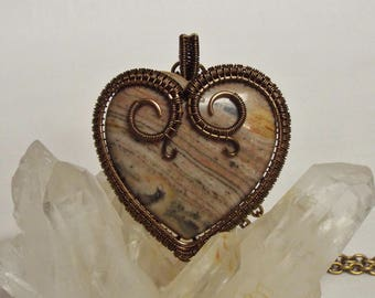Wire wrapped banded jasper heart stone pendant necklace