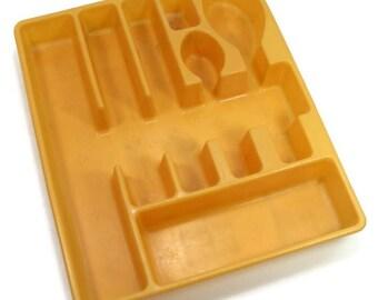Kitchen Drawer Divider Organizer Utensil Holder Harvest Gold Silverware Tray