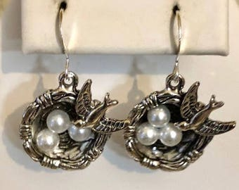 Antiqued Silver Filled Mother Bird and Eggs in Nest Earrings