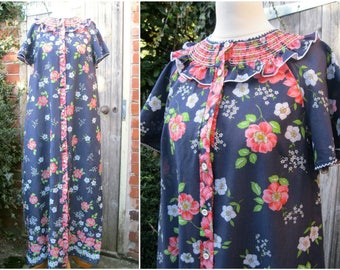 60s 70s Vintage Blue Floral Housedress / Housecoat St Michael Smocking Ruffle Neck Button Up S/M