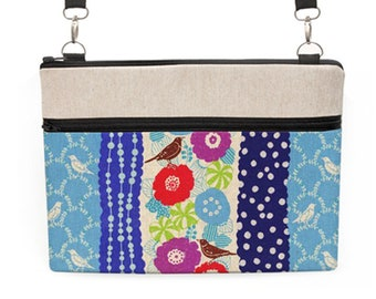 Women's MacBook Bag, Floral MacBook Tote, Dell Laptop Crossbody, Laptop Shoulder Bag, Padded iPad Pro Sling Bag - birds and flowers in blue