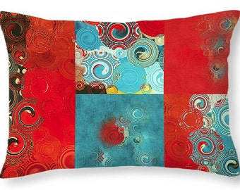 Swirly Mosaic Lumbar Pillow - red teal turquoise decorative throw pillow, scatter cushion, pillow cover, cushion cover, colorful home decor