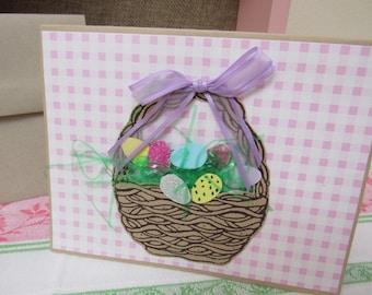 HAPPY EASTER Greeting Card - Playful Unused Vintage Handmade Easter Card 2 Dimensional Easter Eggs Basket Ribbon Grass Stamped Gingham
