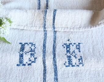FP 494: antique handloomed CORNFLOWER Blue , grainsack, cushion, runner, 42.52 long, wedding, french lin,spring, vintage, do it yourself