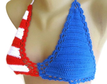 American flag crochet bikini top ,4th of July Patriotic Summer fashion beach bikini top , for her senoAccessory
