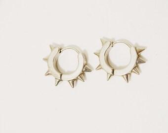Vintage Stailess Steel Spikes Hinged Hoop Earrings.