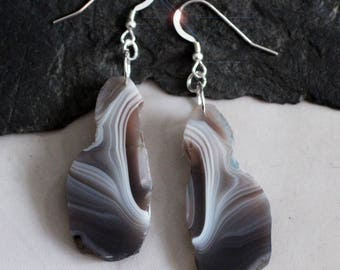 Night Wings - Beautiful Freeform Black, Gray & White Banded Agate Sterling Silver Earrings