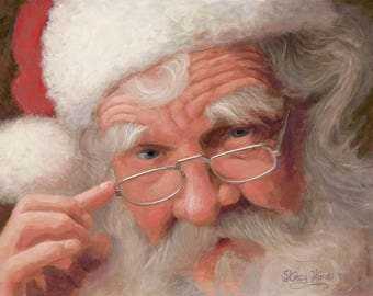 Santa - Claus - portrait - face - painting - Christmas - art - 16 x 20  - canvas