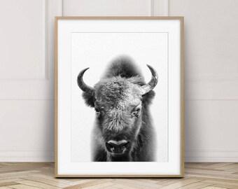 Buffalo Print, Bison Wall Art, American Bison Print, Black White Animal, Contemporary Minimalist, Modern Art, Kids Room Decor, Printable Art