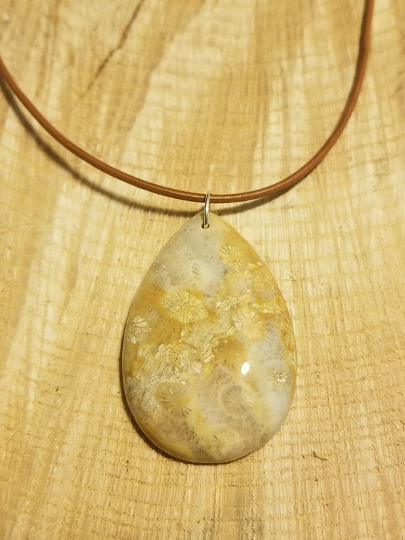 Tan Reef Fossil Stone Necklace Earth Hippie Boho Natural Jewelry Primal Ocean Art Collection (N481)