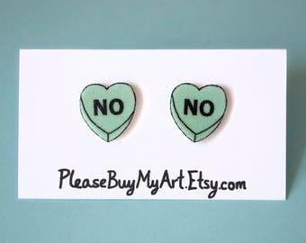 No Pastel Green Pale Candy Heart Stud Earrings Post Earrings Cute Funny Friend Girlfriend Valentine's Day Gift Idea