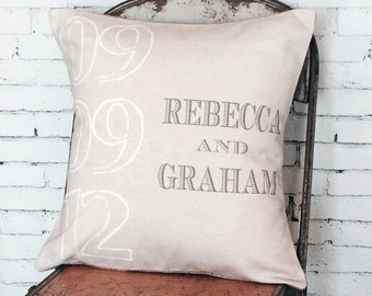 Pillow Cover Wedding Gift Cotton Anniversary Gift Personalized Name and Date Pillow Cover