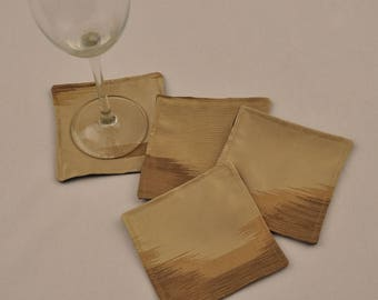 Free Shipping Eco Silk Coasters Cream Beige Brown Men Upcycled Recycled Fabrics Square  OOAK