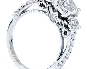 1.20CT Vintage Antique Style Heirloom Diamond Engagement Ring 14K White Gold Size 4-9