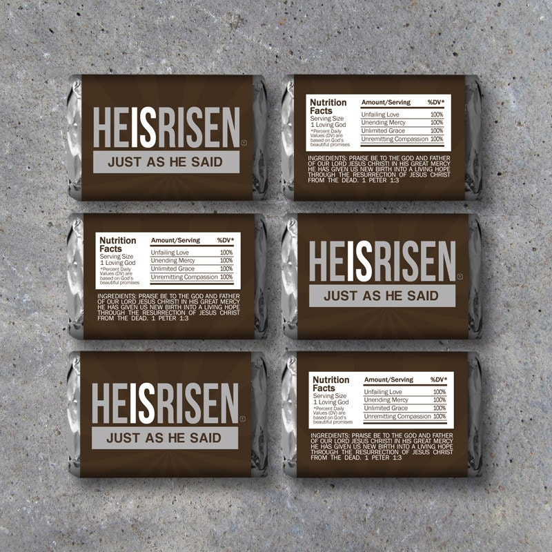 Easter he is risen mini candy bar wrappers instant download zoom negle Gallery