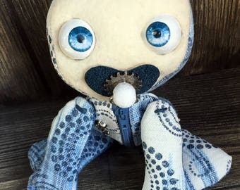 """10"""" Binky Baby doll moving eye hand stamped fabric zipper tummy feed sack baby by Karen Knapp of Tindle Bears"""