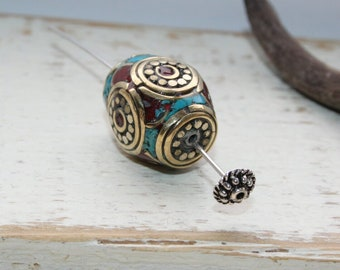 Moroccan beads, turquoise and coral inlay, 1 piece, 19 x 14 mm