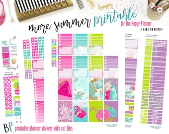 Less Monday | Weekly Printable Planner Kit | Planner Stickers | Cut Line Files | for use with Happy Planner | Planner Stickers Printables