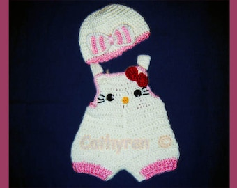 Baby Kitty Shortall and Beanie Set, Buttons at Legs for Easy Change -INSTANT DOWNLOAD Crochet e-Pattern