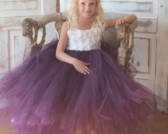Flower girl dress - Tulle flower girl dress - Plum Dress - Tulle dress-Infant/Toddler - Pageant dress - Princess dress -White flower dress