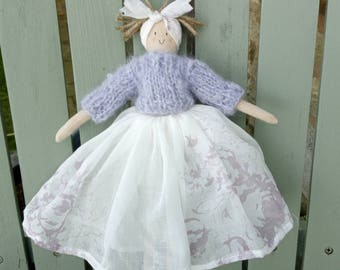 Handmade doll with a cabbages and roses voille skirt