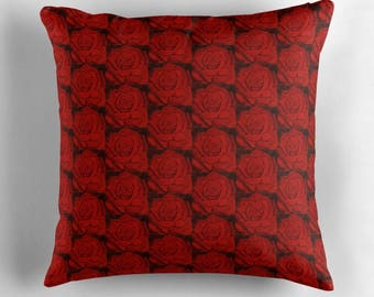 """Decorative Square Throw Pillow Cushion Cover Red Rose Repeat Pattern. Art by Karen Storay Three Sizes 16"""" x 16"""" 18"""" x 18"""" and 20"""" x 20"""""""