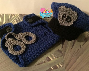 Baby in Blue Diaper Set Pattern