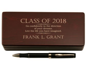 Engraved Graduation Pen with Wooden Case Set