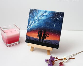 Love painting Valentines Day Gifts for him Galaxy painting Milky Way Children Love couple art Small Oil painting on canvas Sunset painting