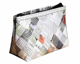 Recycled newspaper makeup case, FREE SHIPPING, vegan case, eco-friendly makeup bag, sustainable purse, recycled gifts, ethical gifts