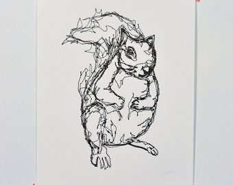 Squirrel - Letterpress Print