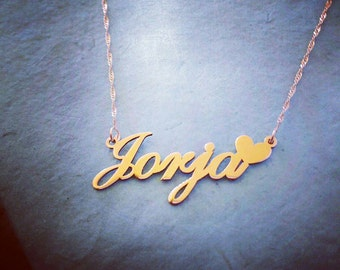 Gold Name Necklace / Child Size Gold Necklace / Heart Pendant / Heart Name Necklace / Black Friday cyber Monday Sale!! Christmas Sale!!