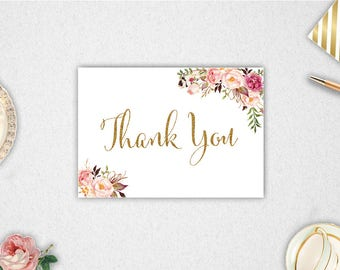 Thank You Cards // INSTANT DOWNLOAD // 5x3.5 inches // Printable // #PBP96