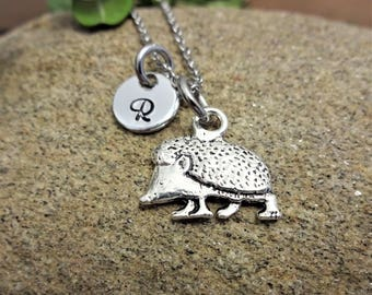 LITTLE HEDGEHOG NECKLACE - personalized with initial charm - choice of chains