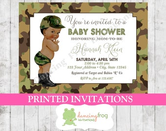 Custom printed shabby chic vintage african american baby vintage antique army camo camouflage soldier african american baby shower filmwisefo