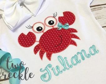 Girls Crab Shirt, Beach Shirt