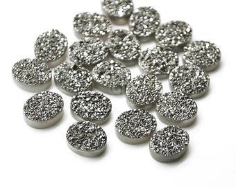 Platinum Druzy, Druzy Cabochon, 12x10mm Oval Shaped Druzy, Cabochon, Druzy Stone, Jewelry Making Supplies (MZ-80015)
