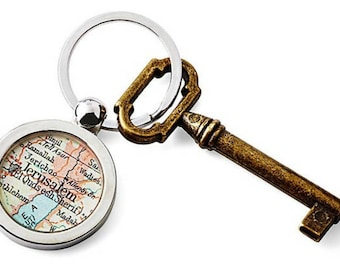 Jerusalem Keychain Map Key Ring Fob Antique Atlas Bethlehem