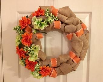 Orange & Green Burlap Wreath
