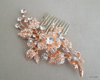 Wedding Rhinestone Hair Comb Rose Gold Hair Comb Bridal Rhinestone Hair Comb Statement Bridal Hair Comb Bridal Hair Comb Swarovski DARCIE