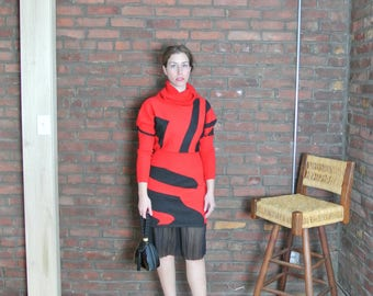 80's Vintage || Abstract Printed Cowl Neck Mini Dress || Wool Dress || Black and Red || Sweater Dress || 0467