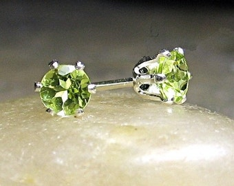 Peridot Earrings Stud Post - Tiny Treasures studs