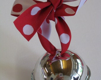 Large Silver Jingle Bell on Red White Spotty Ribbon - Christmas Tree Decoration Gift Big