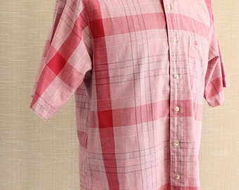 Christian Dior Monsieur Plaid Shirt Sz L Red Windowpane Made in USA- NOTE CONDITON -Tiny Hole