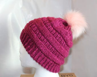 Faux Fur Pom Pom Knitted Hat // Color: Stonewash Berry with Light Pink Pom Pom