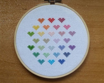 Rainbow Hearts pattern - cross stitch sampler - instant download pdf
