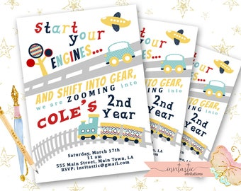 Transportation Birthday Invitation - Plane, Train Automobile Birthday Party Invitation - Automobile Birthday Party Theme, Plane Car Invite